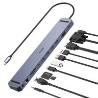 Choetech docking station multifunctional adapter HUB USB Typ C 11in1 100W PD gray (HUB-M20)