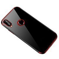 Clear Color Case Gel TPU Electroplating frame Cover for Huawei P Smart 2019 red
