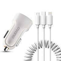 Dudao car kit 2x USB 2.4A charger + 3in1 Lightning / Type C / micro USB cable white (R7 white)