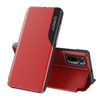 Eco Leather View Case elegant bookcase type case with kickstand for Xiaomi Redmi Note 10 Pro red