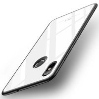 MSVII Tempered Glass Case Durable Cover with Tempered Glass Back Xiaomi Mi 8 SE white