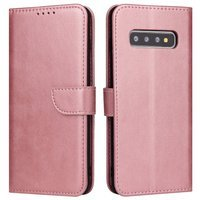 Magnet Case elegant bookcase type case with kickstand for Samsung Galaxy S10+ (S10 Plus) pink