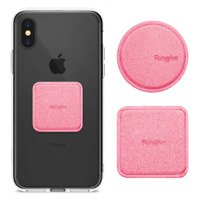 Ringke Magnetic Mount Metal Plate 2x PU Leather Covered Self-Adhesive Metal Plate for Magnetic Car Holders pink (ACPU0002)