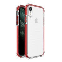 Spring Armor clear TPU gel rugged protective cover with colorful frame for iPhone XR red