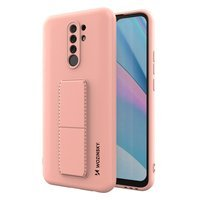 Wozinsky Kickstand Case flexible silicone cover with a stand Xiaomi Redmi 9 pink