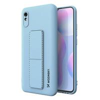 Wozinsky Kickstand Case flexible silicone cover with a stand Xiaomi Redmi Note 9 Pro / Redmi Note 9S light blue