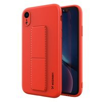 Wozinsky Kickstand Case flexible silicone cover with a stand iPhone XR red