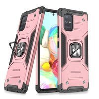 Wozinsky Ring Armor Case Kickstand Tough Rugged Cover for Samsung Galaxy A71 5G pink