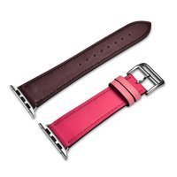 iCarer 42mm/44mm Apple Watch Band Hermes Cow Leather Single Tour Rose+Coffee