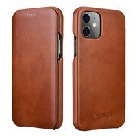 iCarer Curved Edge Vintage Folio Genuine Leather Bookcase type case for iPhone 12 Pro Max brown (RIX1202 brown)