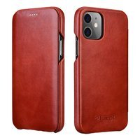 iCarer Curved Edge Vintage Folio Genuine Leather Bookcase type case for iPhone 12 Pro Max red (RIX1202 red)