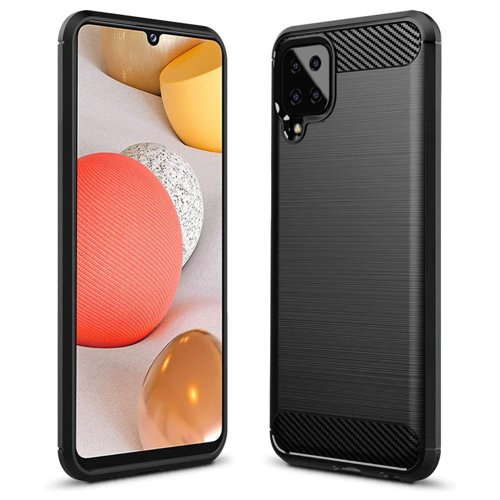 Carbon Case Flexible Cover TPU Case for Samsung Galaxy A12 / Galaxy M12 black
