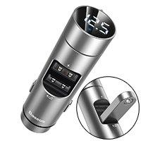 Baseus Energy Column Transmiter FM Bluetooth 5.0 ładowarka samochodowa 2x USB 3,1A QC3.0 srebrny (CCNLZ-0S)