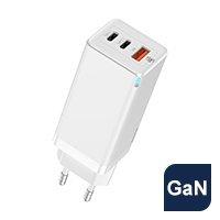Baseus GaN szybka ładowarka sieciowa PPS 65W USB / 2x USB Typ C Quick Charge 3.0 Power Delivery SCP FCP AFC (azotek galu) biały (CCGAN-B02)