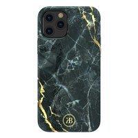 Kingxbar Marble Series eleganckie etui pokrowiec z nadrukiem marmur iPhone 12 Pro / iPhone 12 czarny