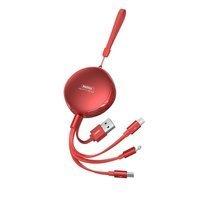 REMAX Sury zwijany kabel 3w1 USB - USB Typ C / Lightning / micro USB 2,1A 1 m czerwony (RC-185th)