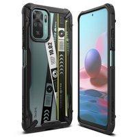 Ringke Fusion X Design etui pancerny pokrowiec z ramką Xiaomi Redmi Note 10 / Redmi Note 10S czarny (Ticket band) (XDXI0029)