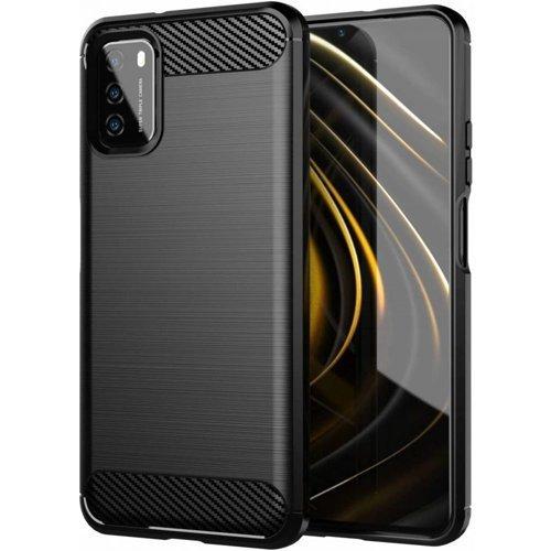Carbon Case elastyczne etui pokrowiec Xiaomi Poco M3 czarny